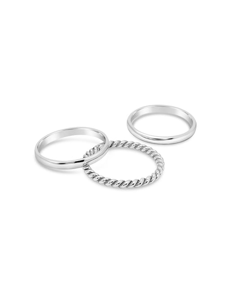 Stack of 3 Silver Rings Plain and Rope
