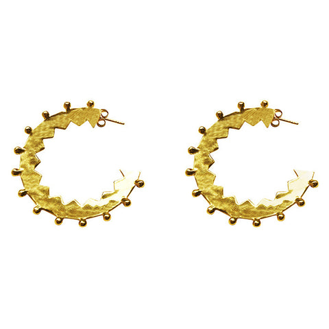 Maya Large Hoop Earrings in 22 KT Yellow Gold