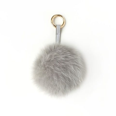 Pom pom Key Ring and Bag Accessory Grey