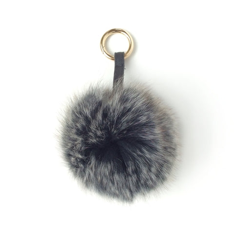 Pom pom Key Ring and Bag Accessory Black speckle