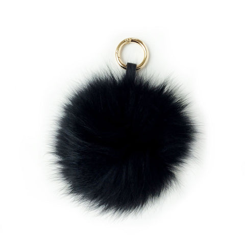 Pom pom Key Ring and Bag Accessory Black