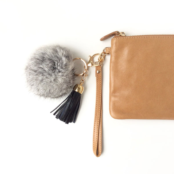 Pom pom Key Ring and Bag Accessory Black speckle with tassel