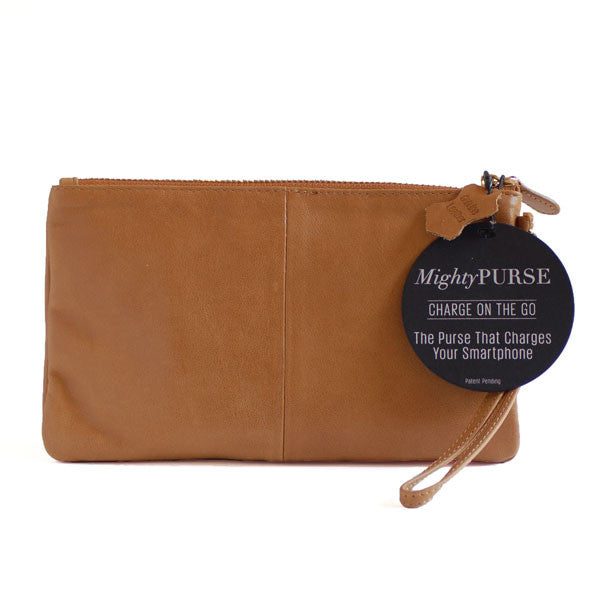 Mighty Purse Wristlet Almond Brown Leather re--charge mobile back