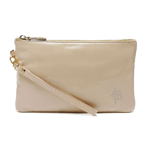 Mighty Purse Wristlet Cafe au Lait patent leather re-charge mobile front view