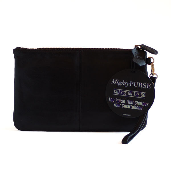Mighty Purse Wristlet Diamond Black re-charge mobile back view