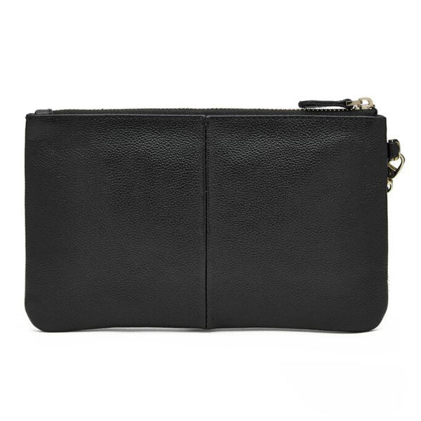 Mighty Purse Wristlet Matte Black Leather back re-charge mobile