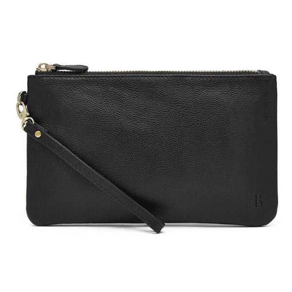Mighty Purse Wristlet Matte Black Leather re-charge mobile front