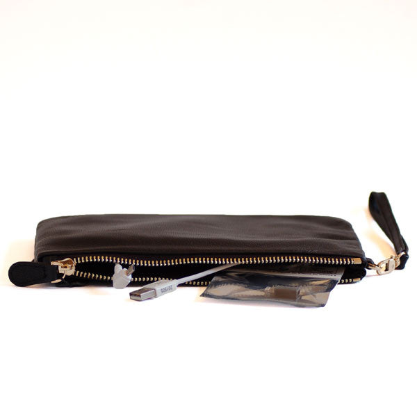 Mighty Purse Wristlet Matte Black Leather re-charge mobile cables