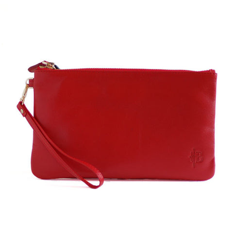 Mighty Purse Wristlet Ruby Red Leather re-charge mobile front