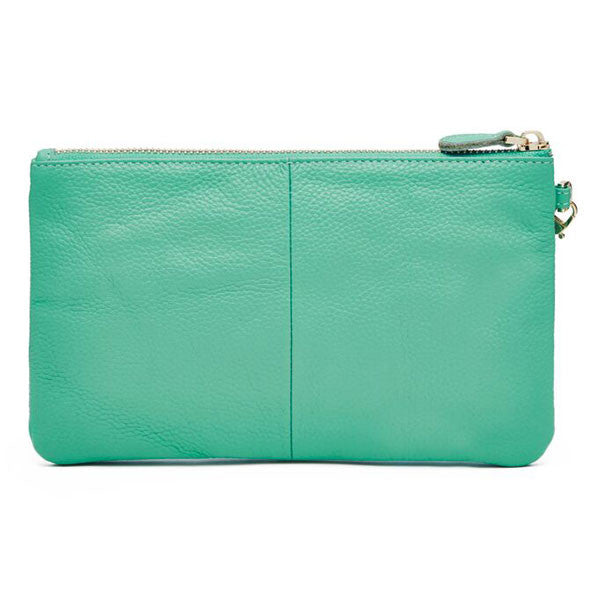 Mighty Purse Wristlet Turquoise Leather re-charge mobile back
