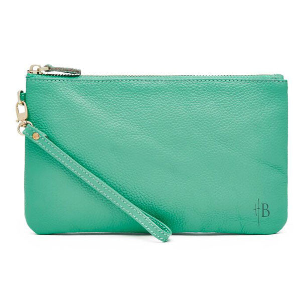 Mighty Purse Wristlet Turquoise Leather re-charge mobile front