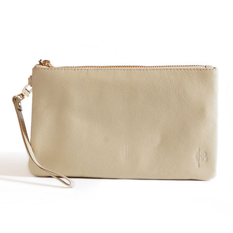 Mighty Purse Wristlet Cream Leather re-charge mobile