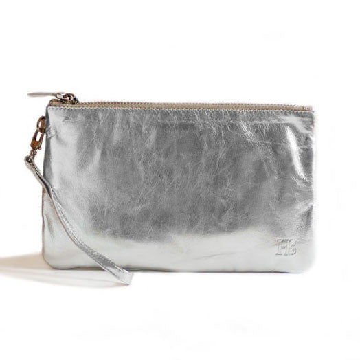 Mighty Purse Wristlet Metallic Silver Leather re-charge mobile