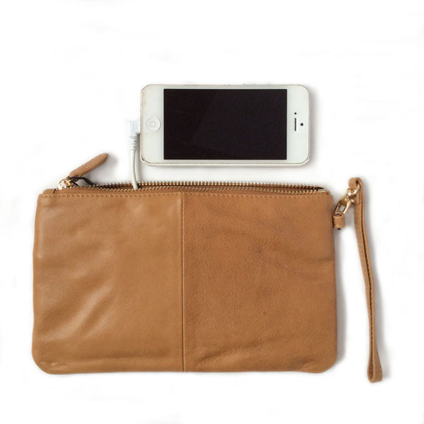 Mighty Purse Wristlet Almond Brown Leather re-charge mobile