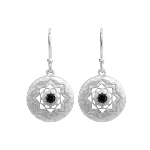Andalusia Small Earrings with Black Spinel Stone in Sterling Silver