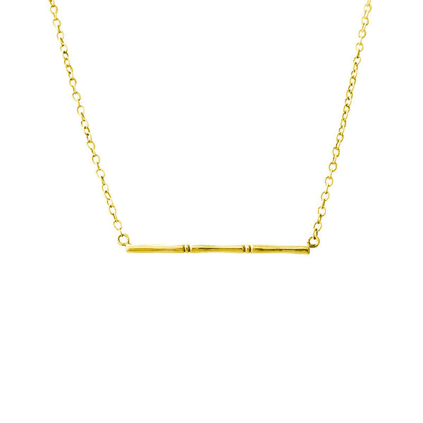 Bamboo Pendant Necklace in 22 carat yellow gold plate