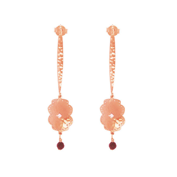 Beleza Long Hanging Earrings in Rose Gold plate