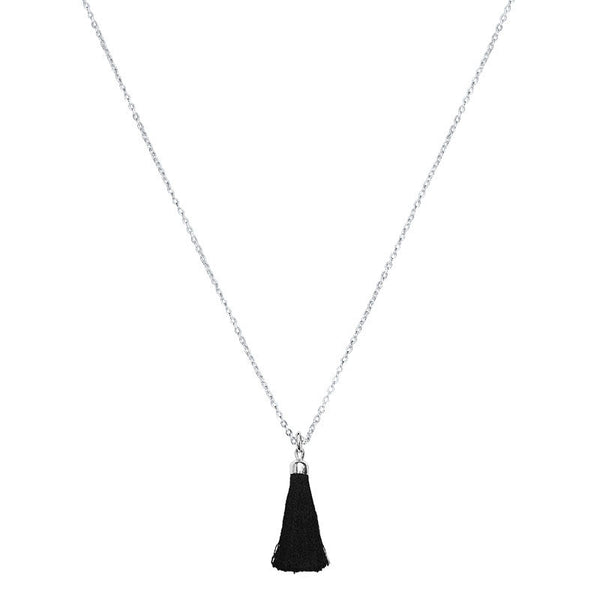 Black Tassel Charm in Sterling Silver