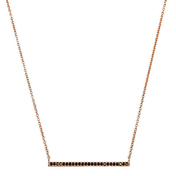 Murkani Celestial Bar necklace with rose gold plate and black spinel stones