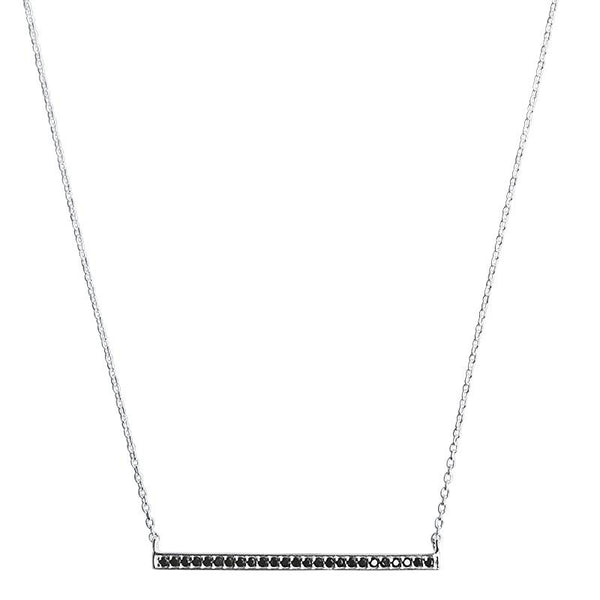 Celestial Bar Necklace in Sterling Silver with Black Spinel Stones