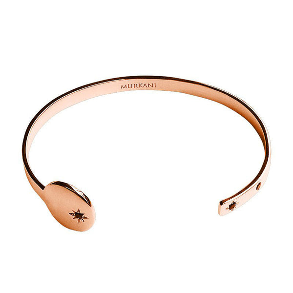 Murkani Destiny Open Cuff Bangle in Rose Gold Plate with Black Spinel Stones