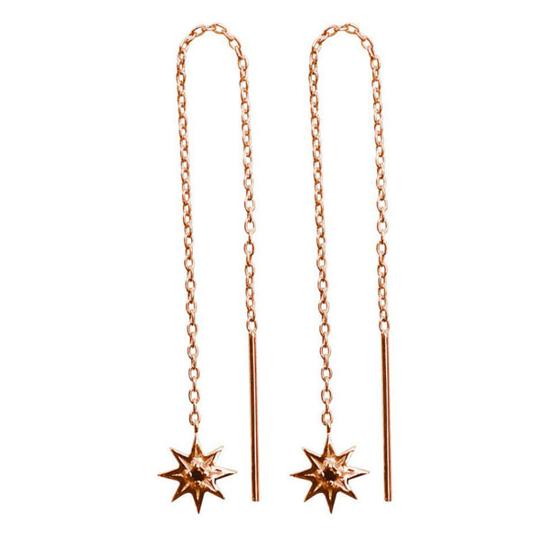 Murkani Falling Star Thread Earrings Rose Gold plated Silver