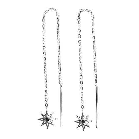Murkani Falling Star Thread Earrings Silver