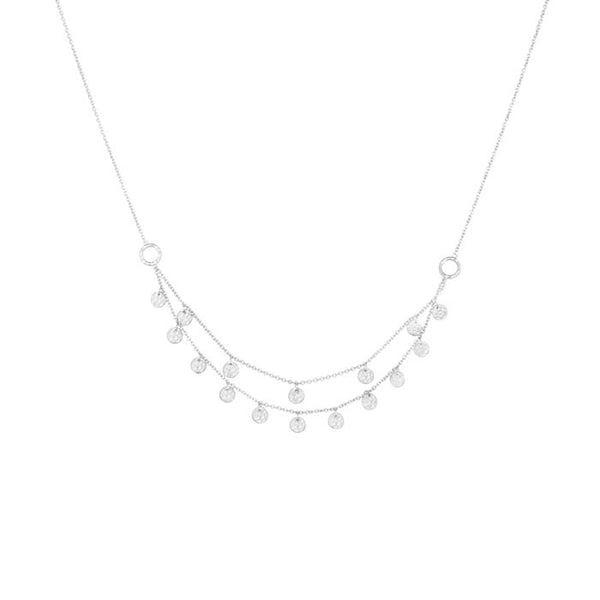 Grace Double Strand Disc Necklace in Sterling Silver