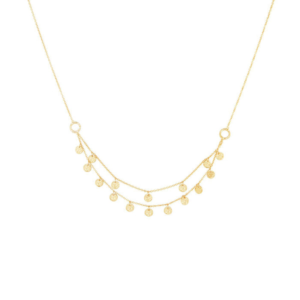 Grace Double Strand Disc Necklace in 18 KT Yellow Gold plate