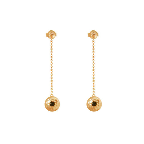 Grace Hanging Chain Disc Earrings in 18 kt Yellow Gold Plate