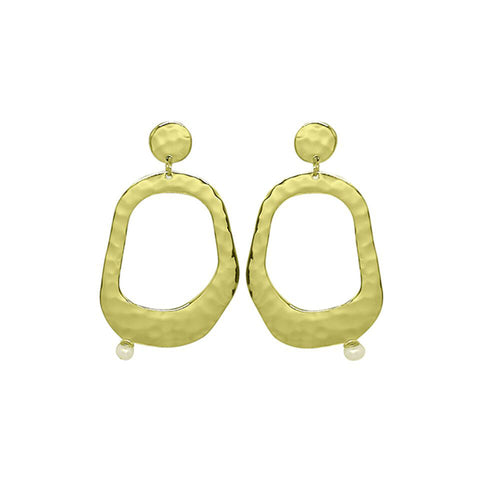 Riviera Large Pearl Earrings in 18 kt Yellow Gold Plate with White Pearl