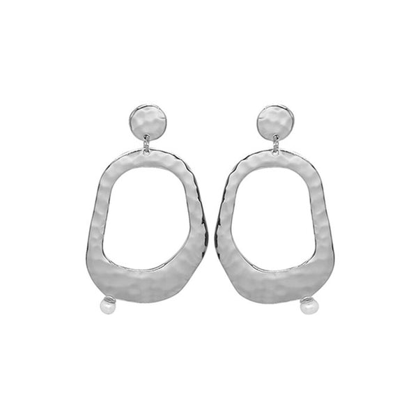 Riviera Large Pearl Earrings in Sterling Silver with White Pearl
