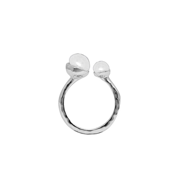 Riviera Double Pearl Ring in Sterling Silver with White Pearls