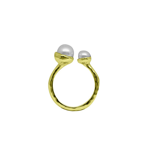 Riviera Double Pearl Ring in 18 KT Yellow Gold Plate with White Pearls