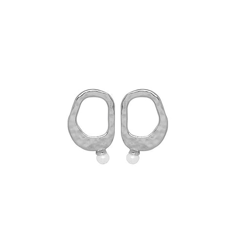 Riviera Small Pearl Earrings in Sterling Silver with White Pearl