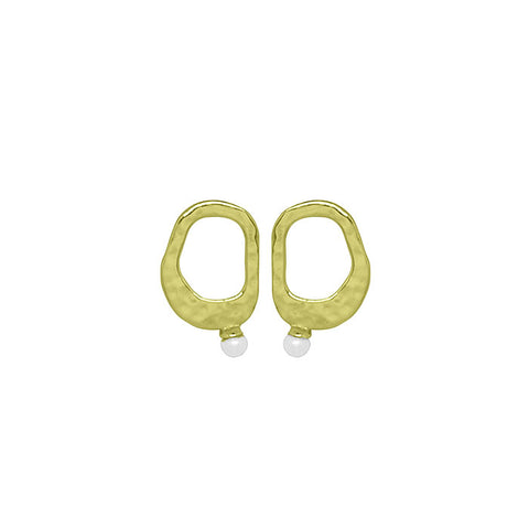 Riviera Small Pearl Earrings in Yellow Gold plate with White Pearl