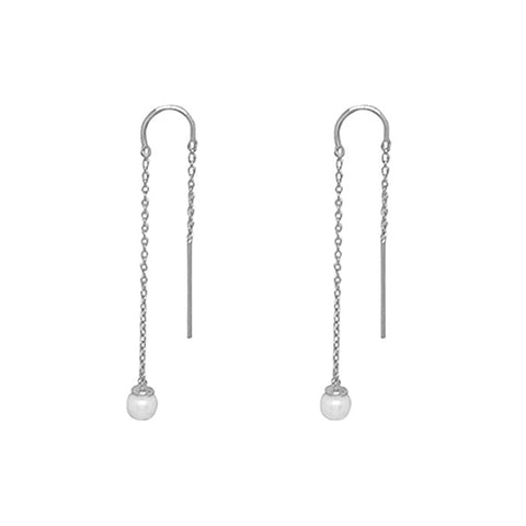 Riviera Pearl Thread Earrings in Sterling Silver with White Pearl