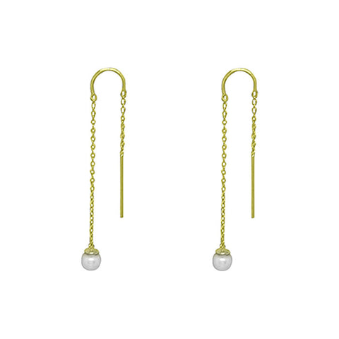 Riviera Pearl Thread Earrings in 18 KT Yellow Gold Plate with White Pearl