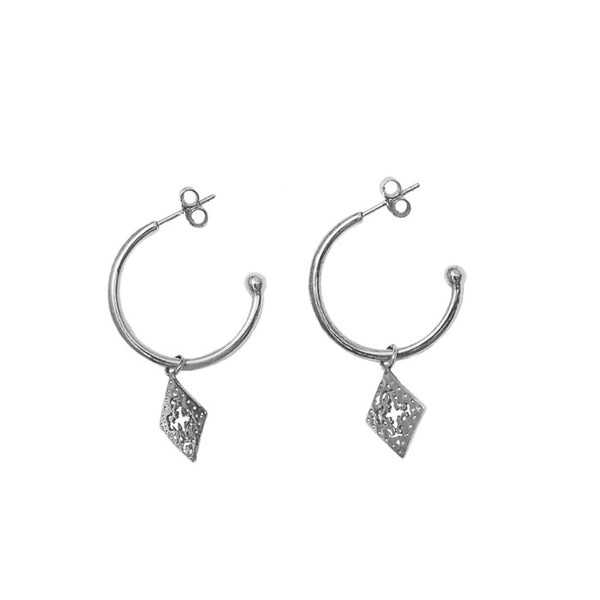 Medium Hoop Silver Earrings with diamond shaped pendants