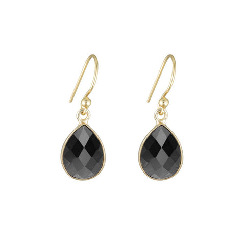 Aurora Hematite Stone Teardrop Earrings Soft Gold NICOLEFENDEL