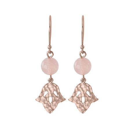 Jacintha Beaded Earrings Rose Quartz stone Rose Gold NICOLEFENDEL