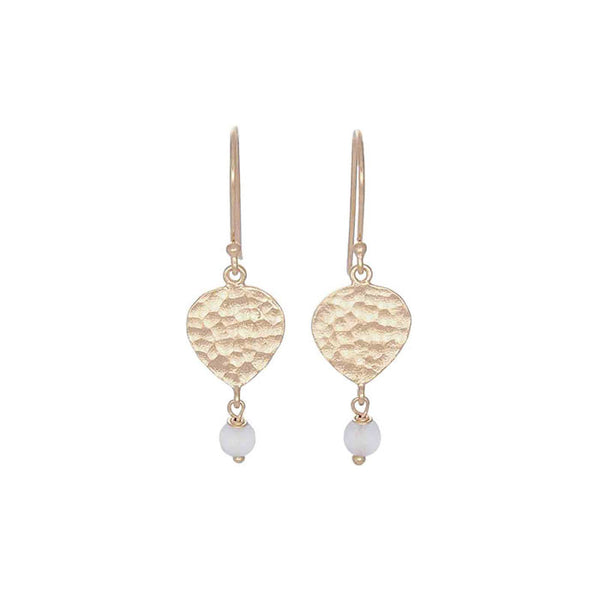 Maya Teardrop Earrings White Agate stone Soft Gold NICOLEFENDEL