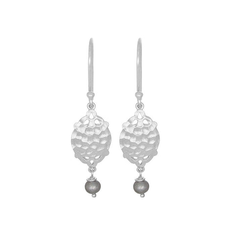 Rhea Mini Earrings Soft Freshwater Pearl Silver NICOLEFENDEL