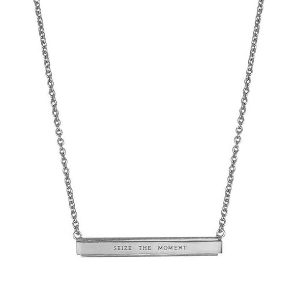 Seize The Moment Bar Pendant Necklace Silver NICOLEFENDEL