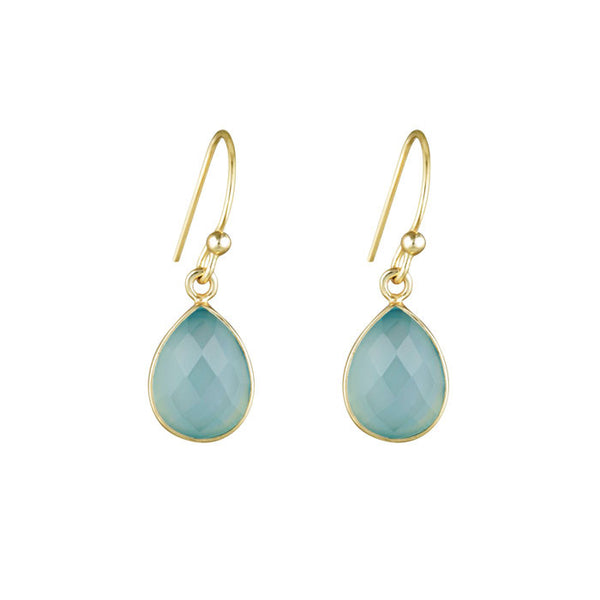 Aurora Stone Teardrop Earrings Soft Gold Aqua Chaldecony NICOLEFENDEL
