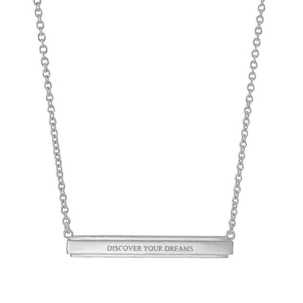Discover Your Dreams Large Bar Pendant Necklace Silver NICOLEFENDEL