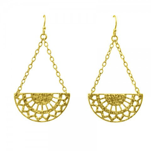 Ottoman Hanging yellow gold plate hook earrings