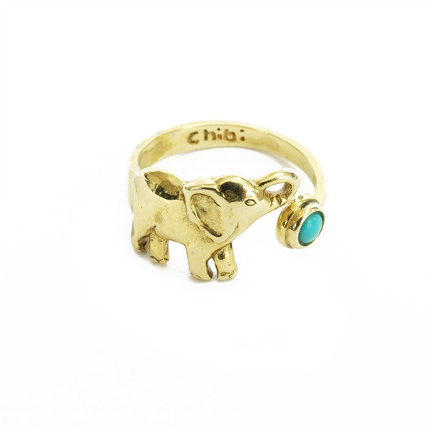 Brass Elephant Turquoise Ring