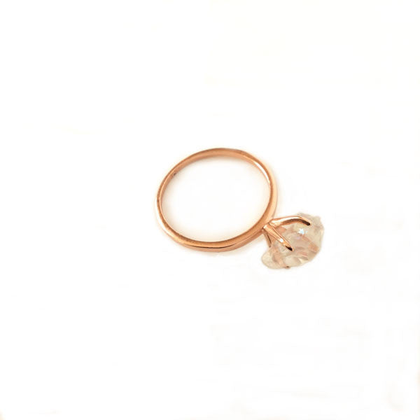 Rose gold quartz ring size 7