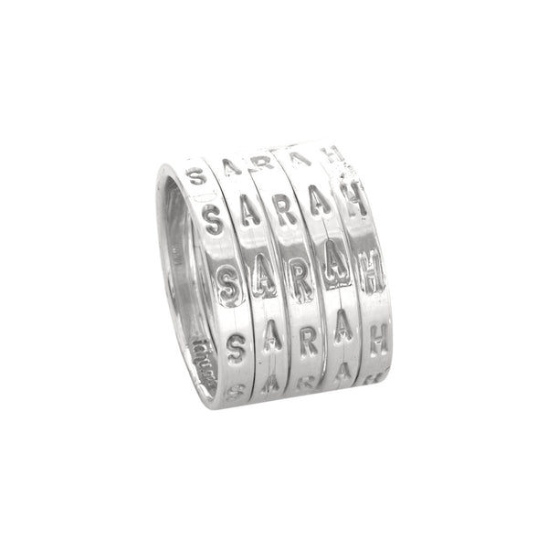 Personalised Silver Letter Rings